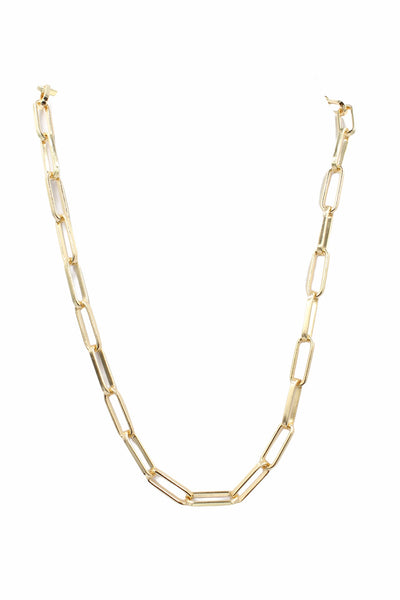 Paper Clip Link Chain, Gold