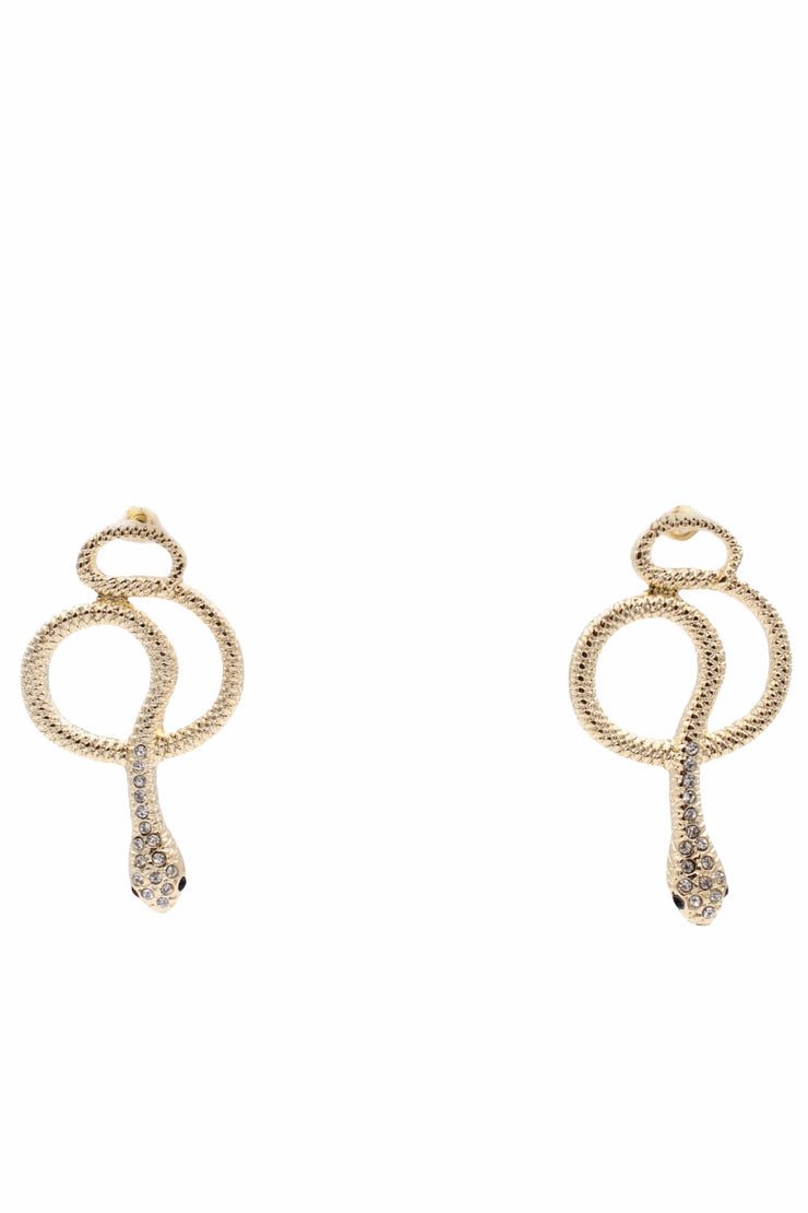 Crystal Snake Earrings, Gold