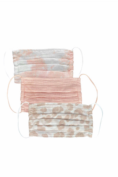 Cotton Mask 3pc Set, Blush