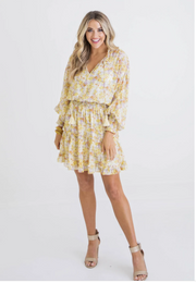 Floral Chiffon Smock Waist Dress, Yellow
