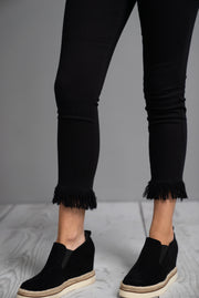 Crop Skinny Fringe Black