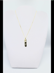 Pave tag heart + Cross necklace, gold