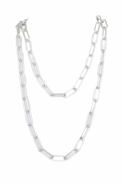 Paperclip Link Long Necklace Silver