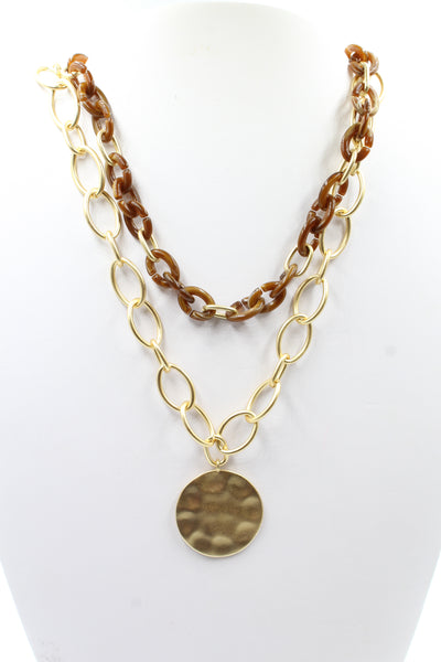 Oval Links & Resin Coin Necklace Brown