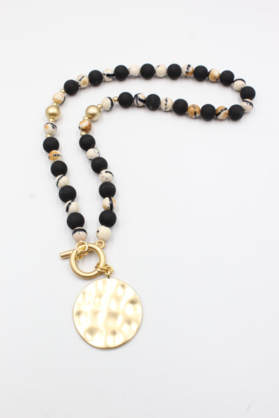 Porcelain & Resin Beaded Charm Necklace Jewelry