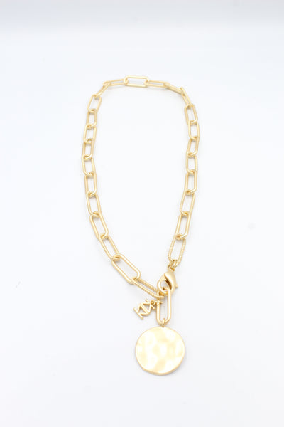 Gold Paper Clip & Coin Medallion Necklace