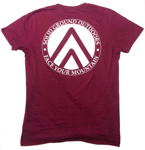 SGO Crest Tee - Maroon - Solid Ground Outdoors