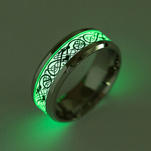 Celtic Dragon Glow In The Dark Ring