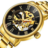 Classic Golden Skeleton Mechanical Watch for Men