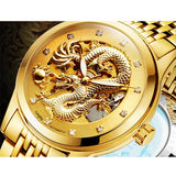 Luxury Dragon Genuine Leather Strap Wristwatch