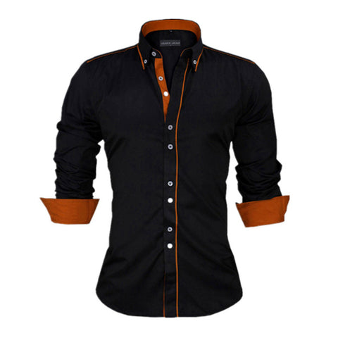 Men Europe Slim Fit Long Sleeve British Style Cotton Shirt