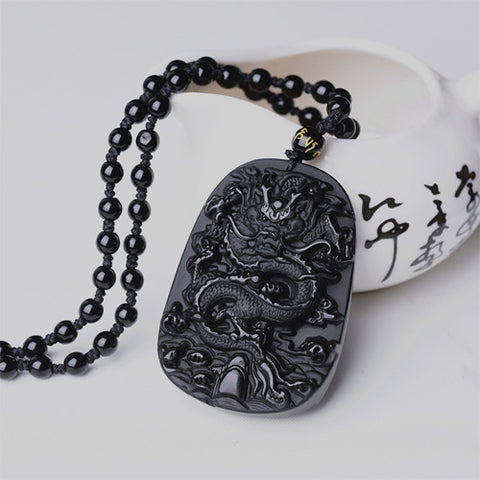 Obsidian Dragon Pendant Necklace