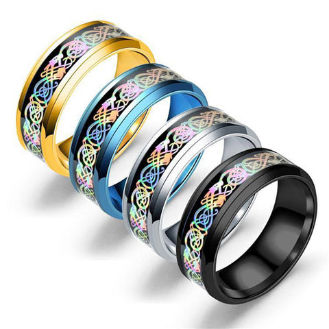 Rainbow Celtic Dragon Rings