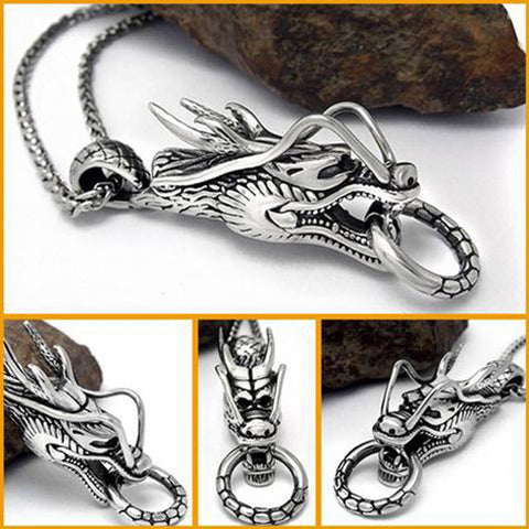 Stainless Steel Dragon Head Pendant Necklace