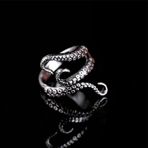 Titanium Steel Gothic Deep Sea Octopus Ring