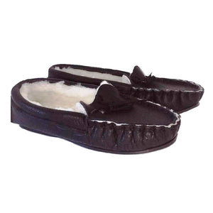 Waveney Moccasin Sheepskin Slipper in Premium Black Leather