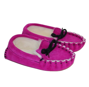 Children's Genuine Moccasin 100% Sheepskin Slippers