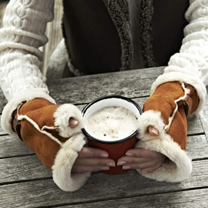 Ladies' Fingerless Genuine Sheepskin Gloves as worn by Helen Skelton on BBC Countryfile