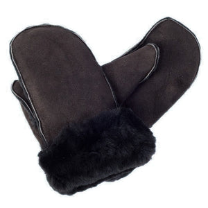 Ladies Luxury Sheepskin Mittens in Black Brown
