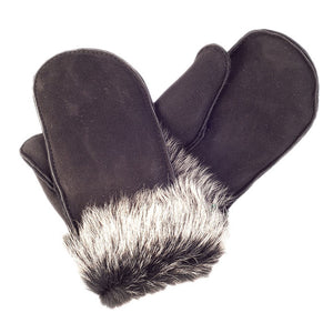 Ladies' Sheepskin Toscana Trimmed Mittens - Black