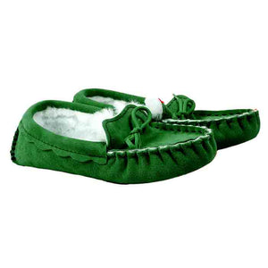 Sheepskin Moccasin Slippers in Heritage Green