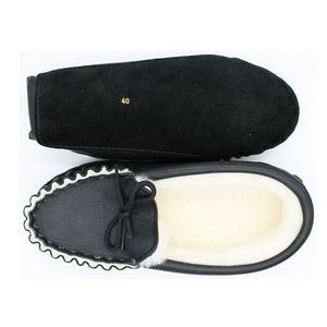 Soft Sole Leather and Sheepskin Moccasin Slipper