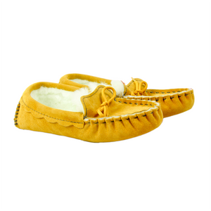 Waveney Sheepskin Moccasin Slipper in Tan - Limited Sizes