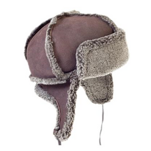 Sheepskin Trapper Hat with Ear Flaps and Wool Out - Unisex - Handmade in Britain