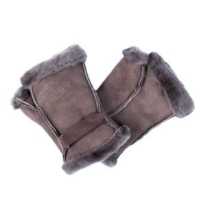 Sheepskin Fingerless Wrist Warmer Mittens