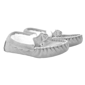 Genuine Sheepskin Moccasin Slipper in Dove Grey