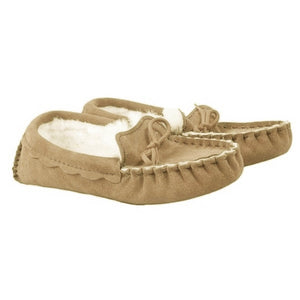 Genuine Sheepskin Moccasin Slippers in Hazelnut