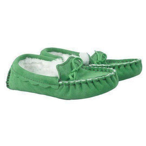 Genuine Sheepskin Moccasin Slipper in Irish Green