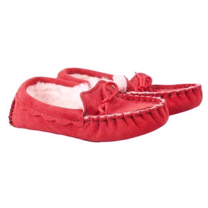 Genuine Sheepskin Moccasin Slipper in Strawberry Red