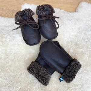 Handmade 100% Genuine Sheepskin Baby Booties and Mittens Bundle
