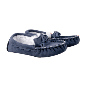 Waveney Sheepskin Moccasin Slipper in Heritage Navy | British Made Slippers since 1846
