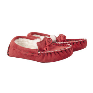 Waveney Sheepskin Moccasin Slipper in Heritage Plum
