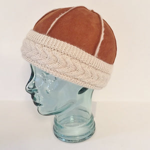 Unisex Sheepskin Beanie Hat with 100% Alpaca Trim