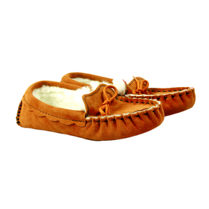 Waveney Sheepskin Moccasin Slippers in Heritage Tobacco