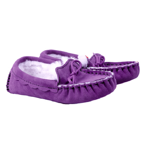 Genuine Sheepskin Moccasin Slippers in Ultraviolet
