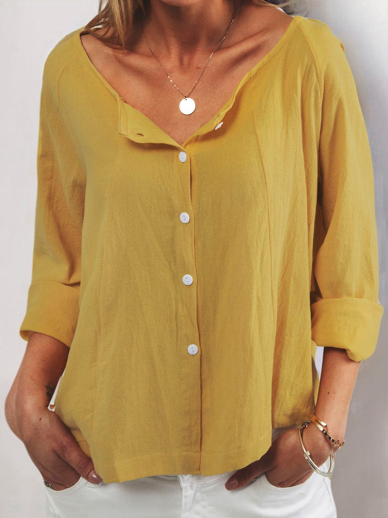 Casual V Neck Long Sleeve T-Shirt