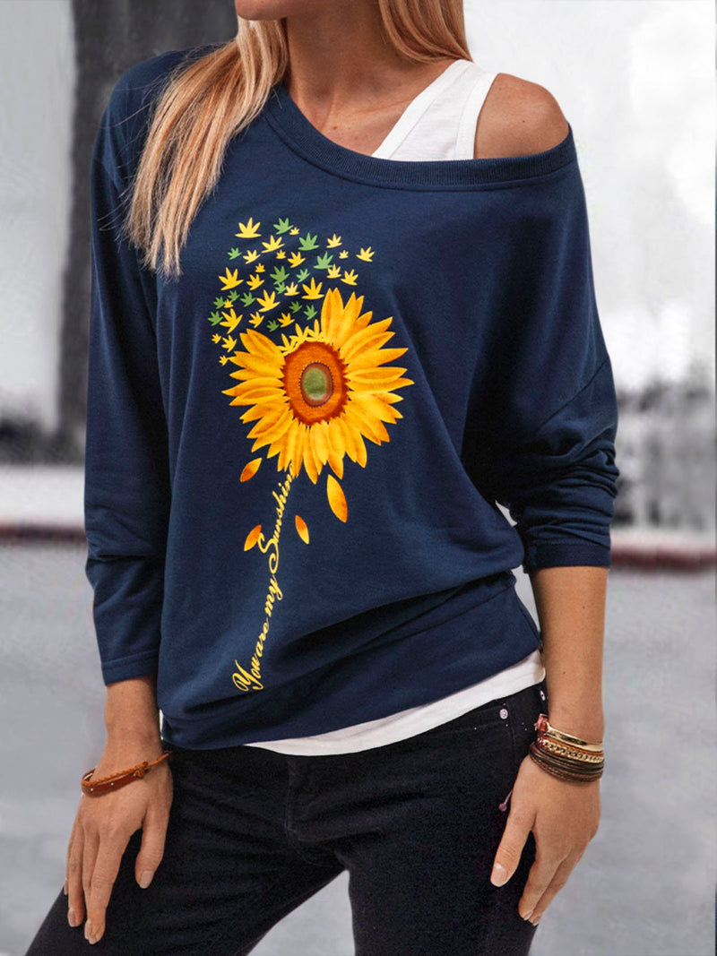 Women's Casual Falling Shoulder Sleeve Floral Printed Sweatshirt
