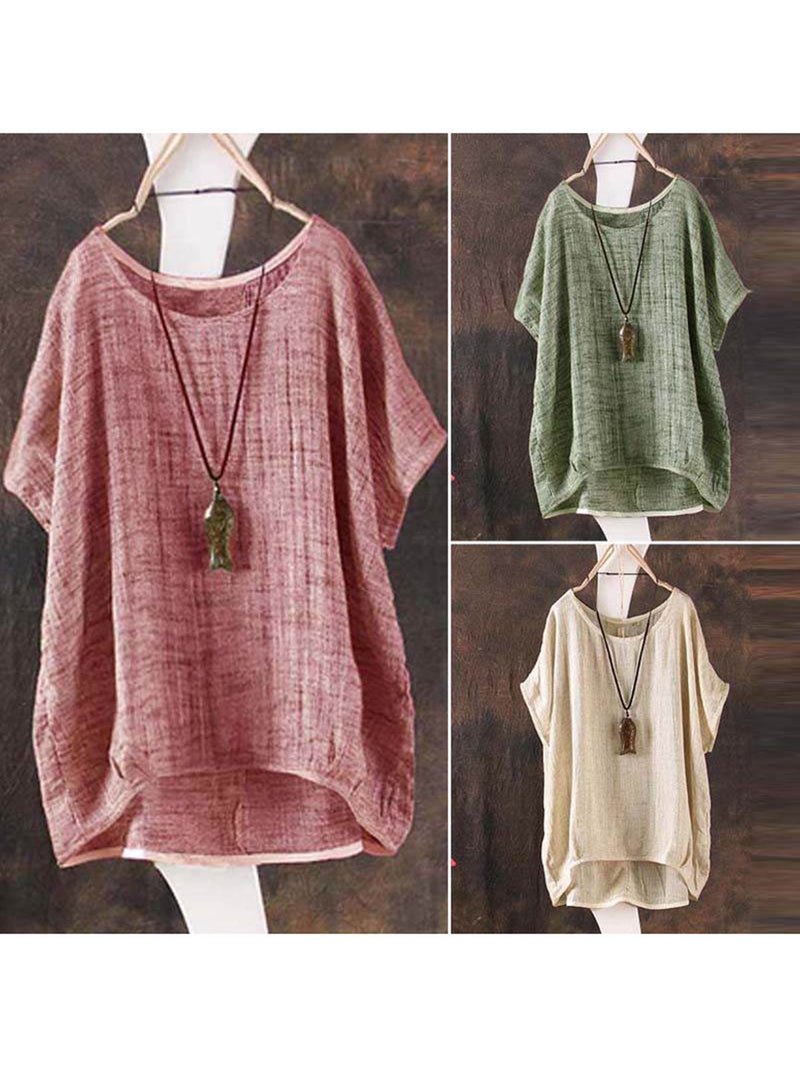 Crew Neck Short Sleeve Linen Solid Plus Size High Low T-Shirt