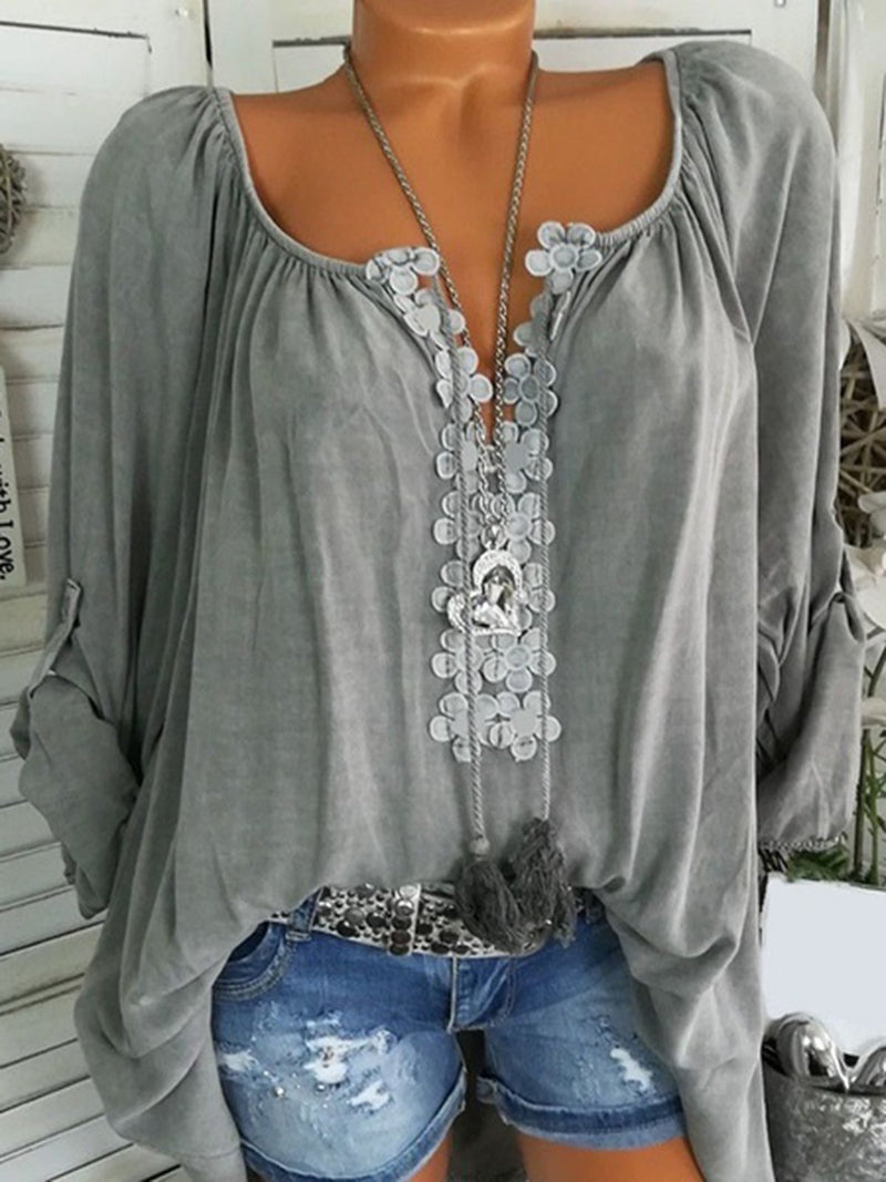 Long Sleeve Casual Appliqued V neck Plus Size Blouse