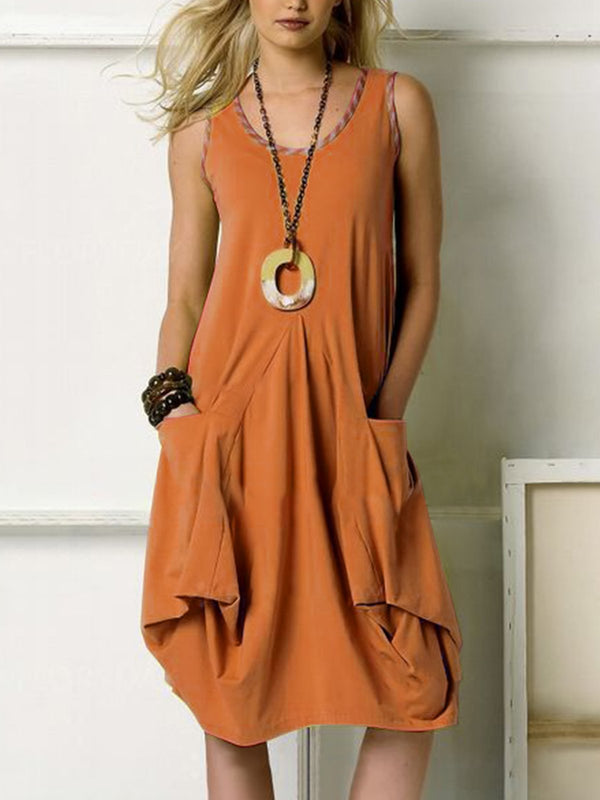 Sleeveless Round Neck Loose Casual Pocket Dress