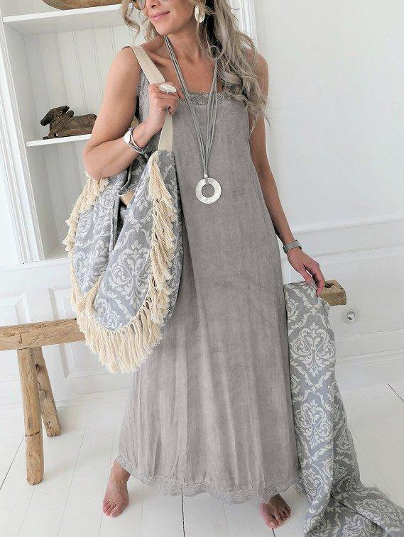 Women Summer Linen Maxi Dress Plus Size Casual Solid Sleeveless Dresses