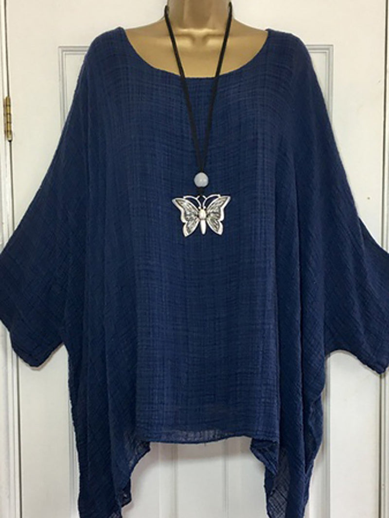 Casual Crew Neck Solid Batwing Asymmetric Blouse