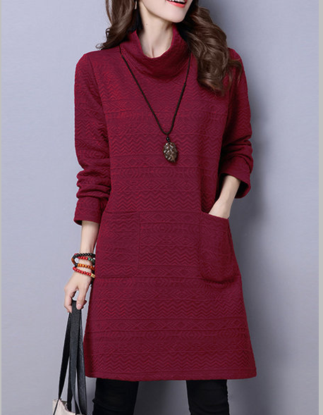 Long Sleeve Casual Pocket Solid Embossed Dress
