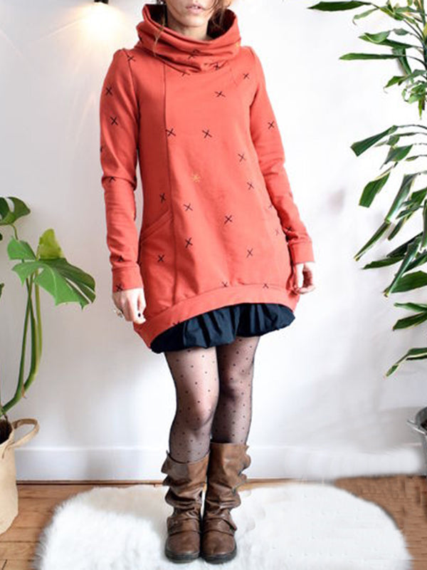 Cowl Neck Cotton-Blend Casual Hoodie Dresses