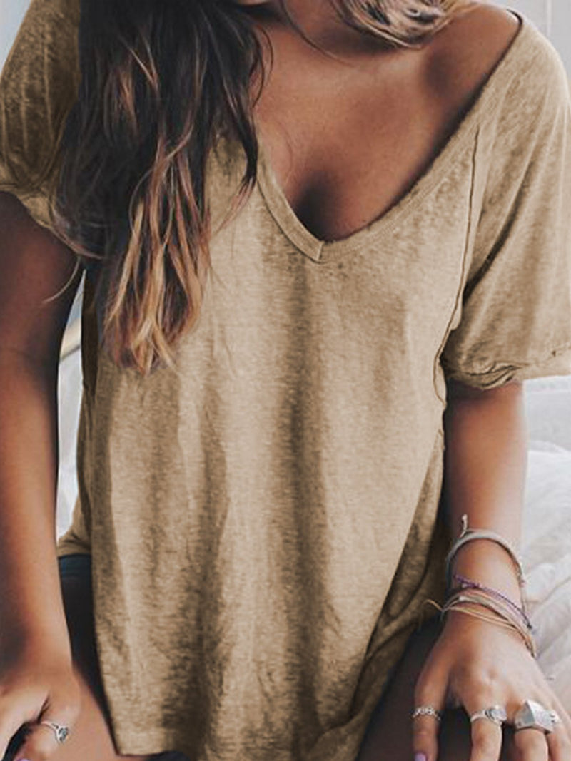 Women Summer Linen V neck Loose T Shirt Tops