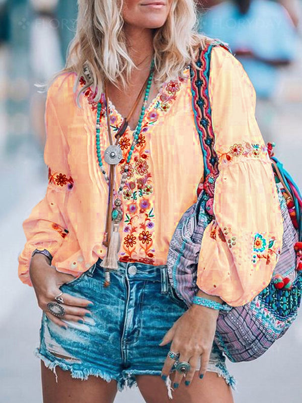 Printed Balloon Sleeve Blouse